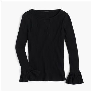 Jcrew black ribbed long sleeve with Bell Wrists